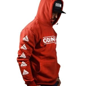 Odin Mfg Classic Red Hoodie Motorcycle Apparel M